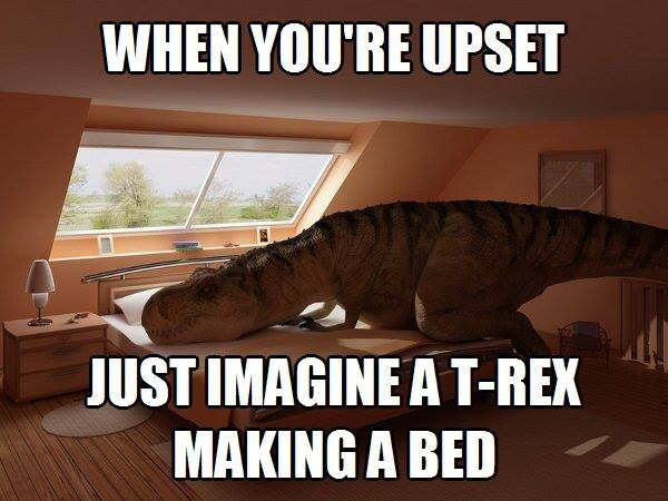 imagine a t-rex making a bed